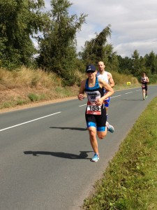 Claire out on the run section of the standard distance at Allerthorpe